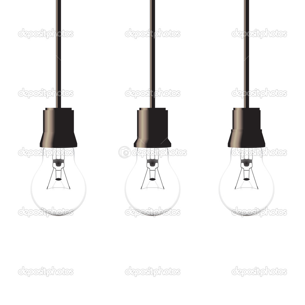 Hanging Light Bulbs Isolated On White Background, Vector