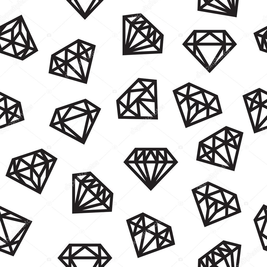 Diamonds, seamless pattern, black and white