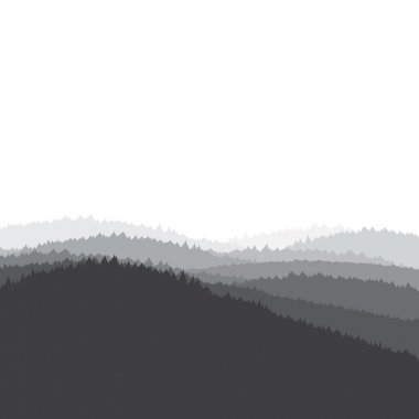 Grey landscape background, forest, vector illustration