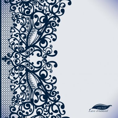 Abstract Lace Ribbon vintage vertical seamless pattern.