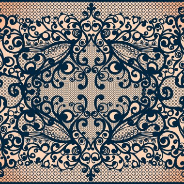Vintage seamless lace pattern with flowers.