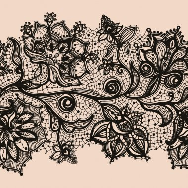 Abstract seamless horizontal lace pattern with flowers.