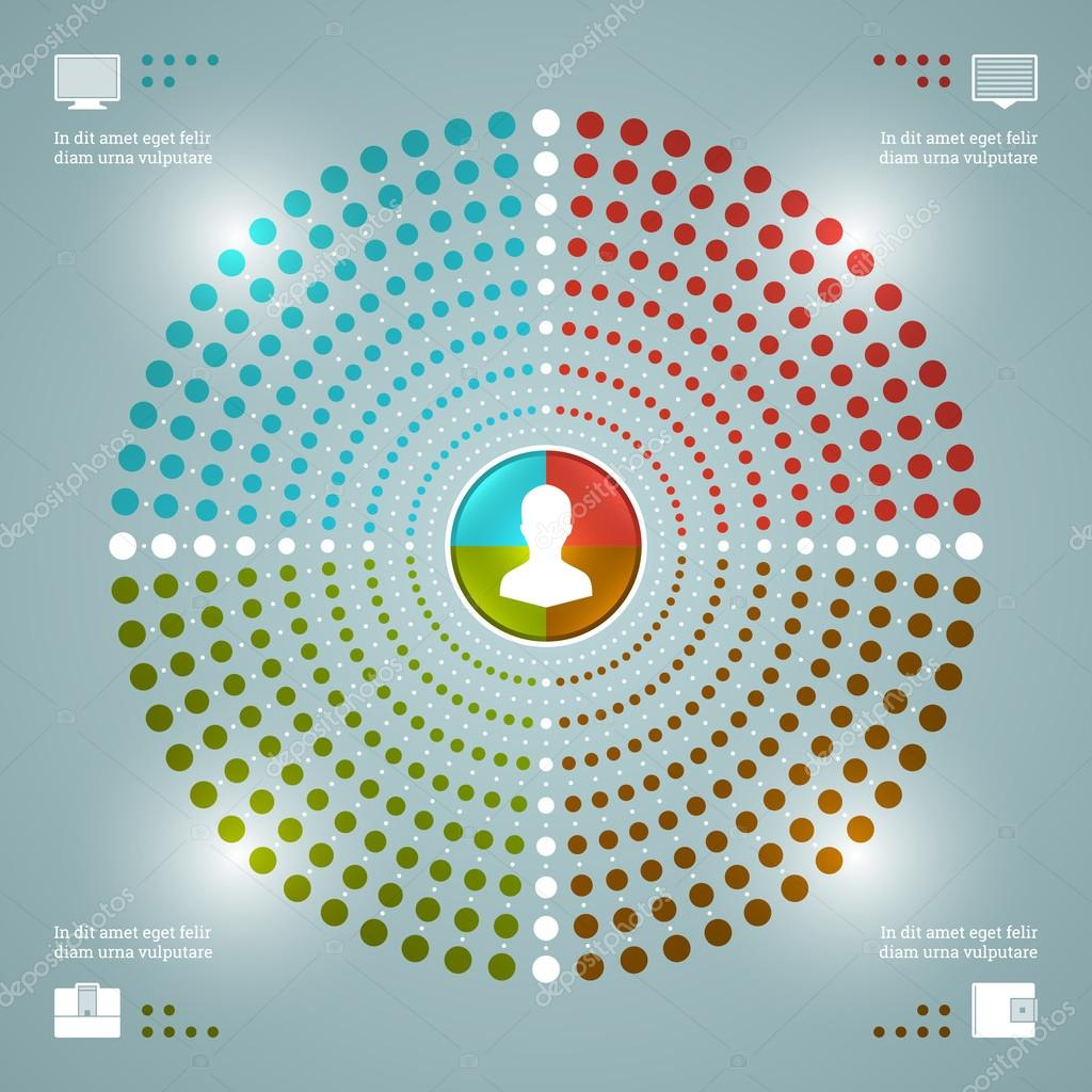 Creative Infographics Vector Template. Dotted Pie Charts Diagram. Vector EPS10 Concept Illustration Design