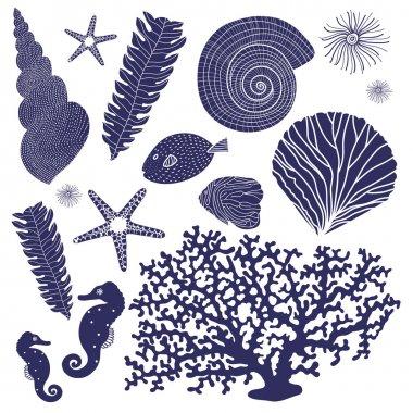 Vector set of marine elements.