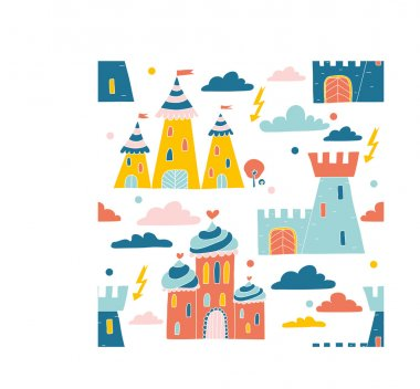Children's fairy-tale pattern with castles and palaces