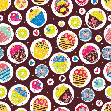 Sweet cake. Seamless pattern.
