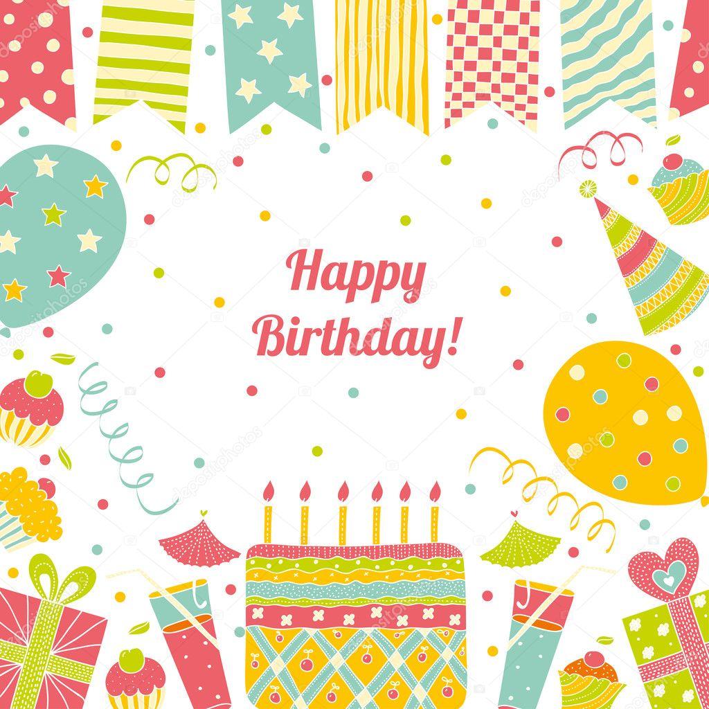 tarjeta del feliz cumpleaños con lugar para texto — Archivo Imágenes ...