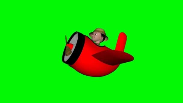 Cartoon boy with plane animation - green screen