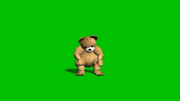 rajzfilm teddy bear ül, és azt mondja - zöld képernyő különböző nézetekben