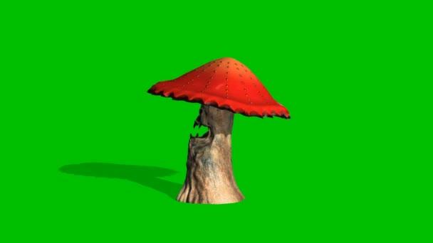 dühös piros gomba néz körül - zöld képernyő