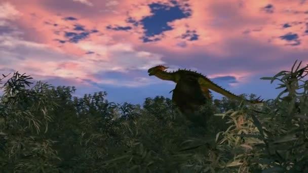 Drak letí nad bambusové lesy na slunce pozadí