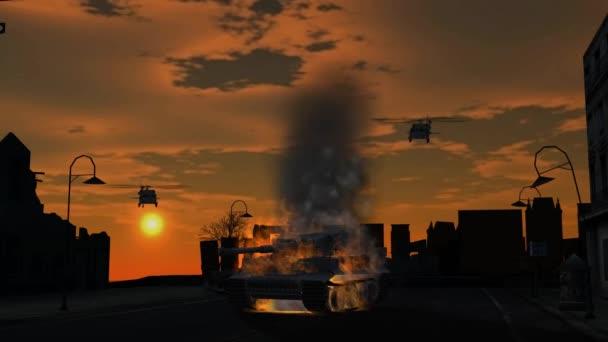 pálení, brnění a vrtulník letící na slunce pozadí