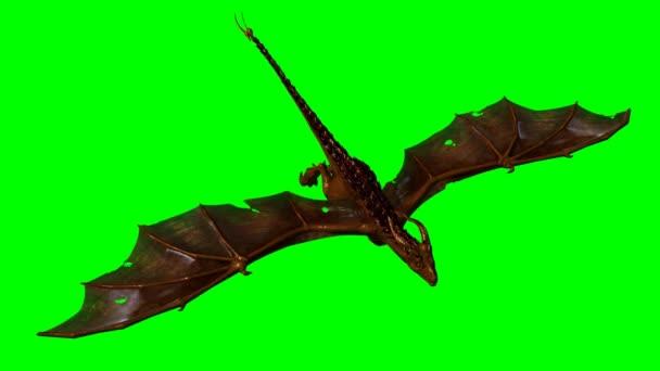Dragon wyvern in the glide - green screen