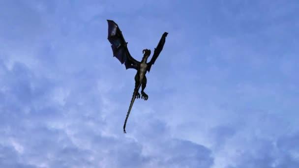Dragon in flight on sky background