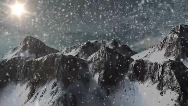 Snowfall in the mountains - individual components on green screen