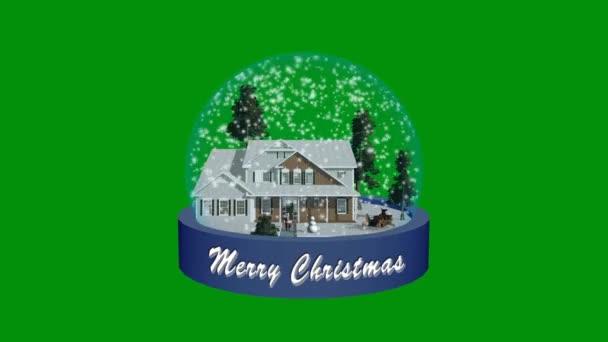 Vánoční sněhová koule animace - zelená obrazovka