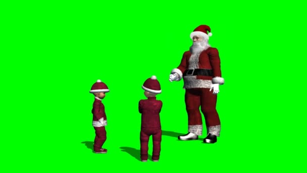 Santa claus mluví s vánoční dětí - zelená obrazovka