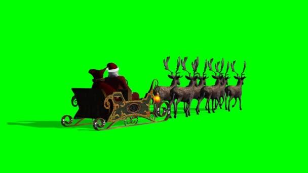 Santa claus saně a soby animovaný