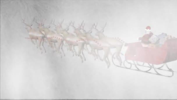 Santa claus s animovaným sobů v sněhové bouři