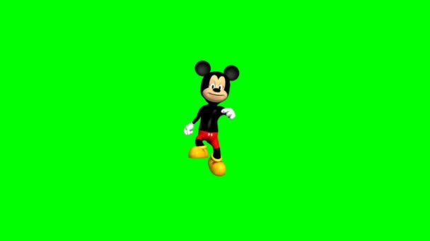 Mickey Mouse runs - green screen