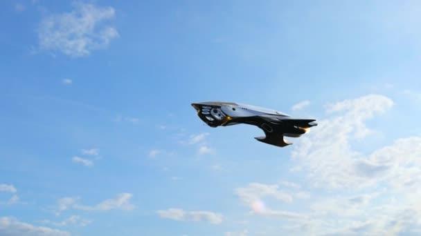 Alien UFO Spacecraft fly over in the sky