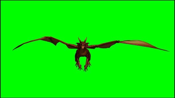 Dragon in glide flight - green screen