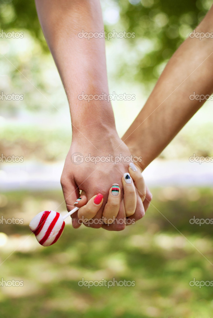 Lovers Holding Hands