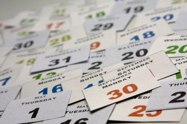 Calendar cards with week days and months