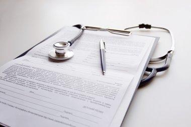 Stethoscope on clip folder