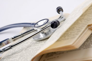 Stethoscope on an opened book