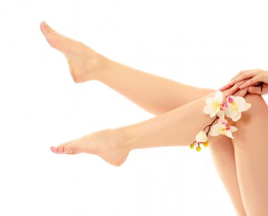 Beautiful legs and feet with flower