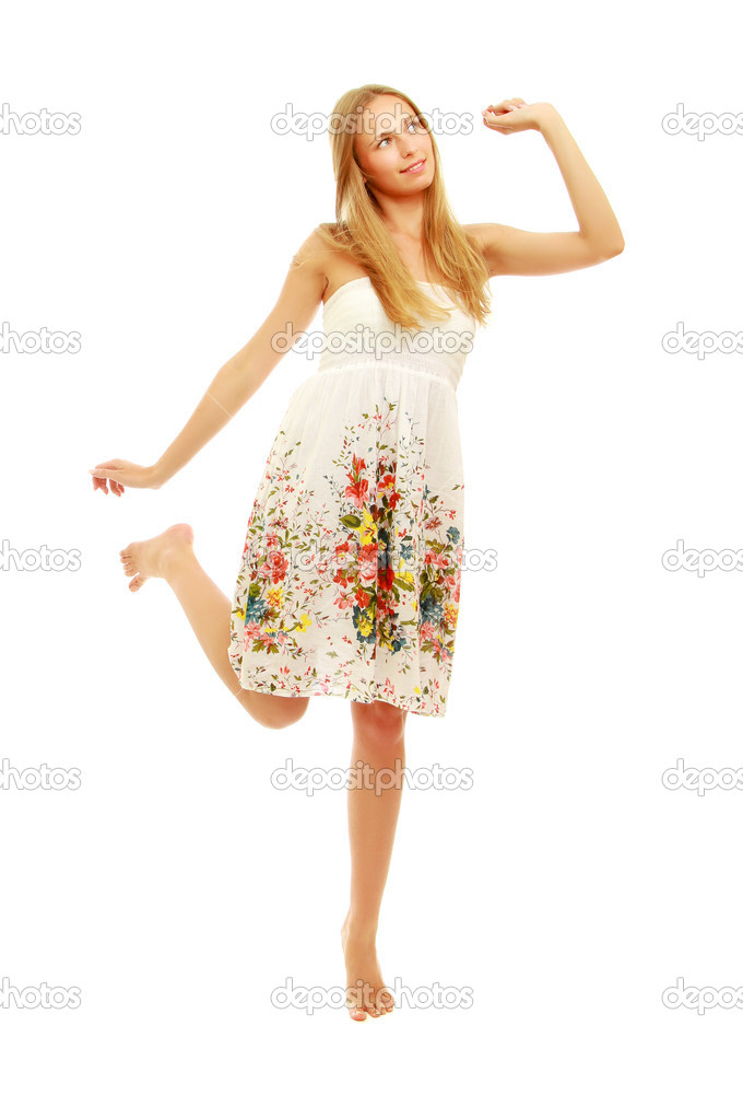 cb4b073455afd A full-length portrait of a pretty young girl wearing a nice summer dress,  isolated on white — Photo by ...