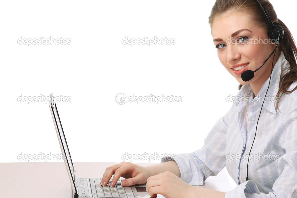 Female customer service consultant working — Stock Photo ...