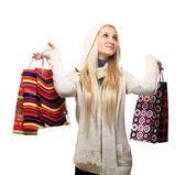 Fotografia donna con borse della spesa