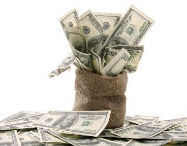 Sack with hundred dollar bills
