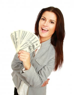 Woman with dollars in her hands