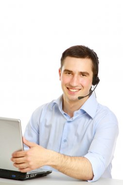 Young customer service guy working