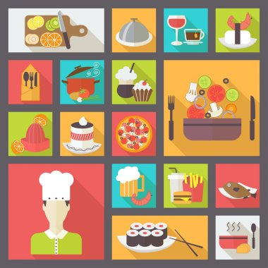 Food icons set for cooking, restaurant, fast food and menu. Flat design vector.