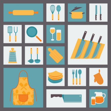 Kitchen and cooking icons set, kitchenware and utensils icons, food vector illustration for restaurants, cafe and culinary blog in flat design.