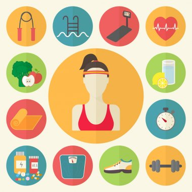 Fitness, sport equipment, caring figure, diet, weight loss icons set. Healthcare flat design vector illustration.