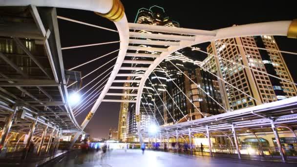 Bangkok downtown at night, Sathorn bridge intersection (Bangkok Landmark)