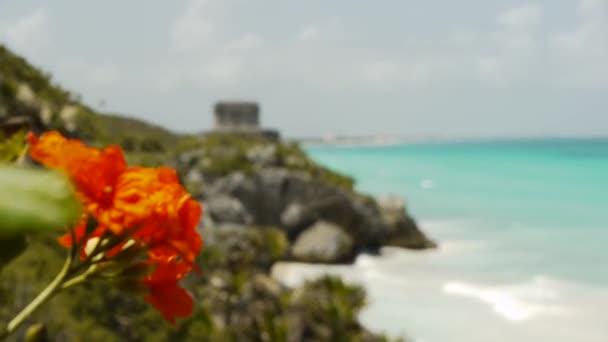 Mayan Ruin of Tulum on Tropical Beach
