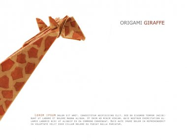 Origami paper giraffe on a white background stock vector