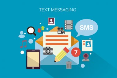 Flat design concept vector illustration surrounded by a cloud of colourful application icons of text messaging. stock vector