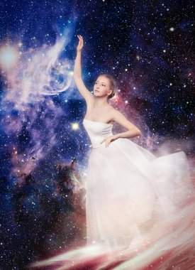 Magic lady. Fabulous woman. Starry Witch Lady of the planet and the universe. Galaxy tales.