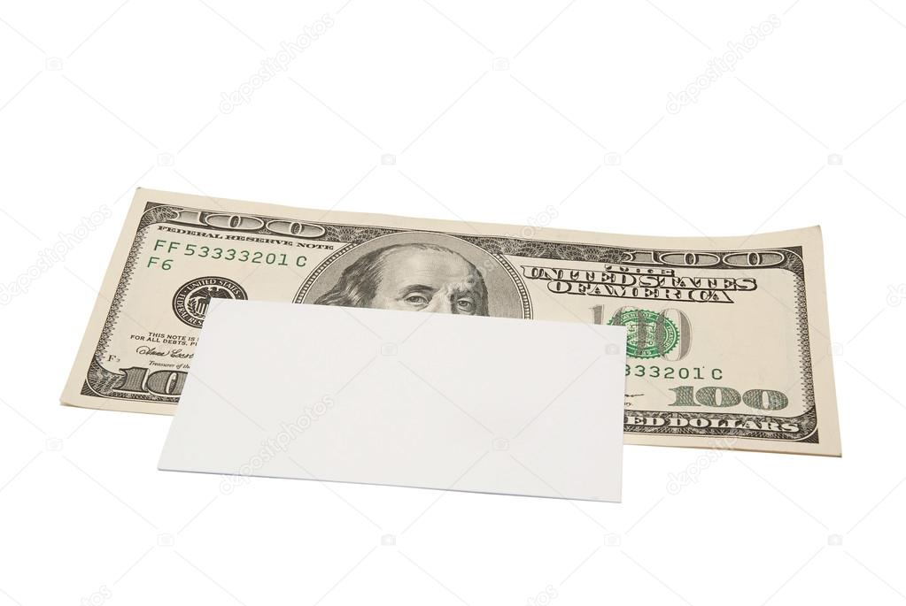 Banknotes. One dollar and one hundred dollar bills. Business card ...