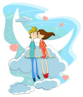Love couple on cloud