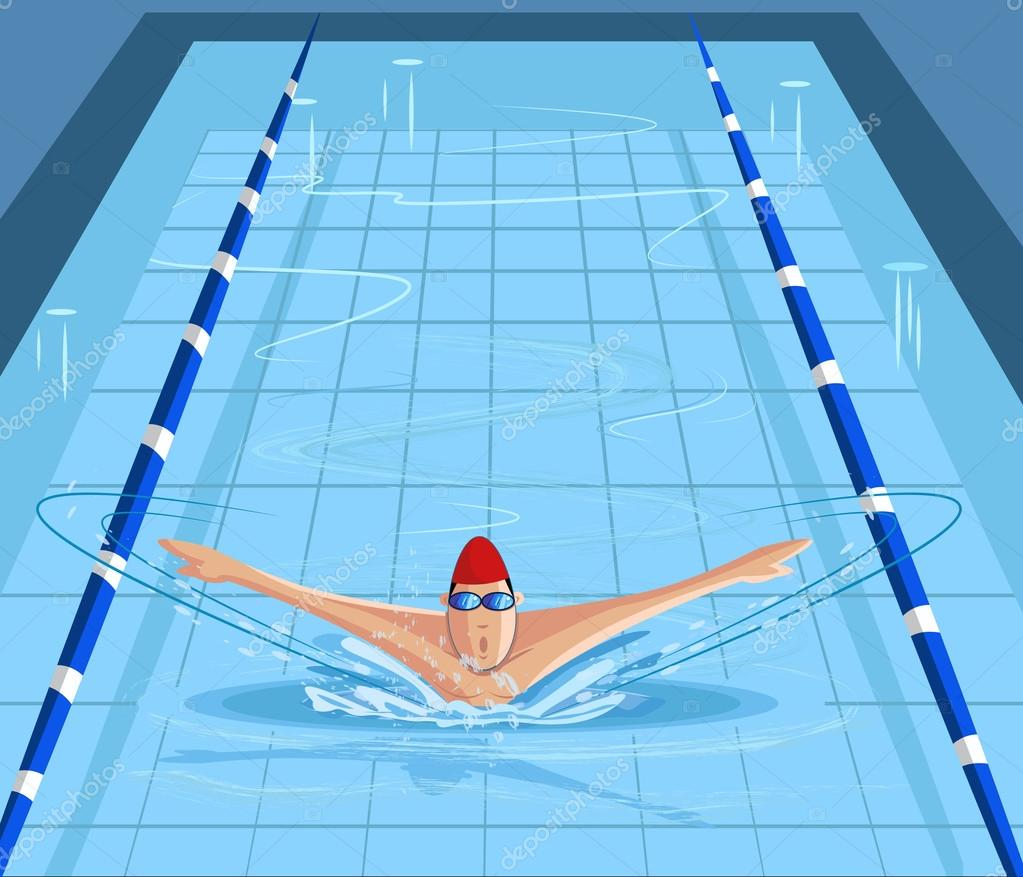 Nuotatore nuoto in piscina vettoriali stock - Nuoto in piscina ...