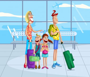 Happy family at airport