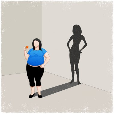 Fat woman casting slim woman shadow
